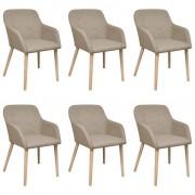vidaXL Set 6 scaune de interior din lemn stejar și stofă cu cotiere, Bej