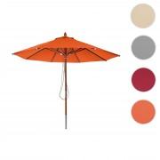 Holz-Sonnenschirm HWC-C57, Gartenschirm Marktschirm, Polyester/Holz 14kg, rund Ø3m mit Seilzug stoßsicher ~ Variantenangebot