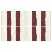 vidaXL Individual de mesa 4 pcs chindi riscas 30x45 cm bordô e branco