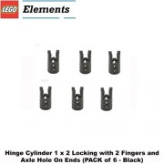 Lego Parts: Hinge Cylinder 1 x 2 Locking with 2 Fingers and Axle Hole On Ends (PACK of 6 - Black)