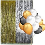Party Decoration Set For Birthday Anniversary - 2 Curtain Black White Golden Balloon (Multi) - 50 ml