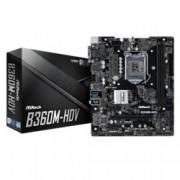 Дънна платка ASRock B360M-HDV, B360, 1151, DDR4, PCI-E(HDMI,DVI-D,D-Sub), 6x SATA 6Gb/s, 1x Ultra M.2, 4x USB 3.1 Gen2, mATX