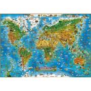 Kinderwereldkaart 92ML Dieren van de wereld, 140 x 100 cm   Dino's Maps