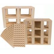 Premium Big Briks Sand Colored Baseplate Tower Construction Set - 96 Pack Bundle (Big LEGO DUPLO Compatible) - Large Pegs