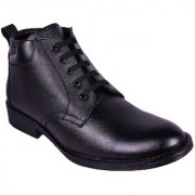 Genuine Leather Black Formal Lace up Half Boot