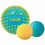 Set 3 mingi senzoriale cu tepi pentru dezvoltarea simturilor tactile motorii si vizuale ale bebelusului Ludi Bleu