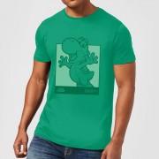 Nintendo Super Mario Yoshi Kanji Line Art Men's T-Shirt - Kelly Green - XXL - Kelly Green