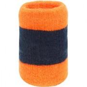 Neska Moda Unisex Pack Of 1 Orange And Dark Blue Striped Cotton Wrist Band WB40