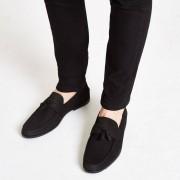 River Island Mens Black nubuck tassel loafers (Size 9)