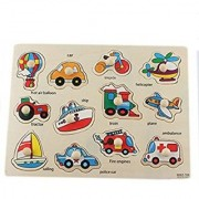 VEHICLES WOODEN PUZZLE / EDUCATIONAL TOY WITH COLOURFUL PICTURES FOR CHILDREN