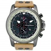 Tommy Bahama Paradise Pilot Dual Time Chronograph Tan Leather Mens Watch TB1293