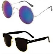 Yaadi Round, Clubmaster Sunglasses(Silver, Black)