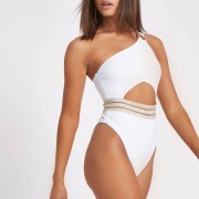 River Island Womens White rib elastic one shoulder swimsuit (Size 6)