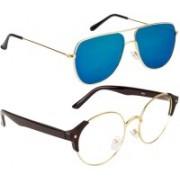 NuVew Round, Retro Square Sunglasses(Clear, Green)