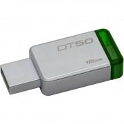 Kingston USB Flash Drive DT50/16GB- DataTraveler 50, Speed2 USB 3.1 Gen 13- 30MB/s read, 5MB/s write, 16GB, Metal casing with green