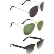 Zyaden Aviator, Aviator, Clubmaster Sunglasses(Black, Green, Black)