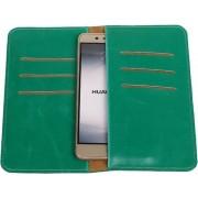 Groen Pull-up Large Pu portemonnee wallet voor Huawei Y6 II