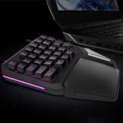 DELUX T9 Pro bekabelde 7 kleuren LED-Backlit enkele Hand professionele Gaming toetsenbord
