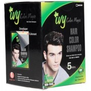 IBS Black hair colour Magic Instant Non toxic dyye 12 poches set with 12 pair of gloves (300 ml)