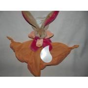 Doudou Plat Lapin Baby Nat' Carré Lange Coton Orange Rouge Framboise Rose Peluche Bébé Babynat Jouet Bebe Naissance Peluche Éveil Enfant Comfort Blanket Comforter Soft Toy
