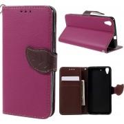Shop4 - Huawei Y6 Hoesje - Wallet Case Lychee Leaf Roze