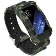 EL-move Samsung Gear Fit 2sm-r360Band, bandas de reemplazo marco Rugged Protective Caso Muñequera Deporte de silicona para amsung Gear FIT2& FIT2Pro Tracker Smart Watch Correa de Accesorios, 6.00-8.40'', GreenCamo