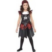 Costum de carnaval de fata pirat negru pentru copii 7-9 ani