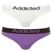 Addicted 2pack dámská tanga Addicted bílá fialová XS