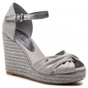 Еспадрили TOMMY HILFIGER - Iconic Elena Metallic Canvas FW0FW04080 Light Grey 018