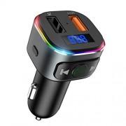 Criacr Adaptador Bluetooth para coche, transmisor FM Bluetooth V5.0 para coche, QC3.0 Dual USB Puertos Ridao Adaptador, 7 RGB LED retroiluminado, kit de coche con llamadas manos libres, compatible con unidad USB