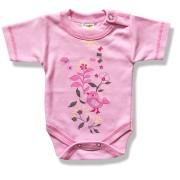 Detské body, krátky rukáv- VTÁČIK, ružové veľkosť: 98