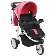 vidaXL Бебешка количка триколка, розово и черно