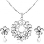 Sukkhi Royal Rhodium Plated AD Pendant Set For Women