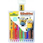 Minions - Set 12 creioane colorate si ascutitoare