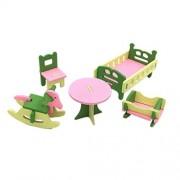 Unetox Wooden Dollhouse Toys Furniture Kid's Pretend Play Mini Toys Set Children Room Decorations (Nursery Room)