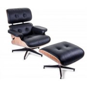 Design Town Fotel z podnóżkiem Czarna Skóra Naturalna Inspirowany Projektem Lounge Chair