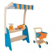 Hape Grocery Checkout Stand Play Set + Hape Supermarket Grocery Shopping Cart