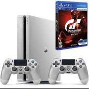 Конзола PlayStation 4 Slim, 500GB, Два геймпада, Сребрист+Игра Gran Turismo Sport VR Comatible за Playstation 4
