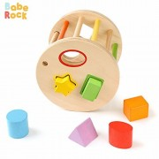 BabeRock Insert Lattice Shake and Match Toddler Wooden Shape Sorter Toy by Babe Rock