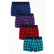 Mens Next Buffalo Check Hipsters Four Pack - Multi Check