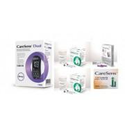 CareSens Dual glucometru (glicemie si cetonemie) + 100 teste glicemie + 30 teste cetone + 100 ace, testare rapida si precisa, bluetooth, nu necesita codare + CADOU Burete baie cu sapun