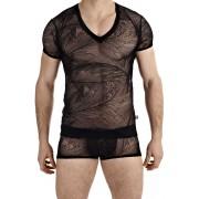 L'Homme Invisible Drifter V Neck Short Sleeved T Shirt Black MY73-DRI-001