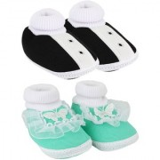 Neska Moda Pack Of 2 Baby Boys And Girls Black And Green Cotton Booties For 0 To 12 Months
