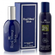 Royal Mirage Eau De Cologne Spray Silver 120ml + Royal Mirage Body Spray Silver 200ml