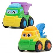 Set of Two Tiny Trucks Construction Pull And Push Dump And Lifting Hand Vehicles Small Interactive Activity Car Playset for Boys Babies Children Toddlers Kids Educational And Learning Mini Truck Toys