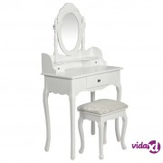 vidaXL Toaletni stolić s ogledalom i stolicom bijeli
