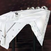 Kersttafellaken, wit/zilverkleur - tafellaken, 130 x 225 cm