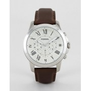 Fossil FS4735 Grant Brown Leather Strap Chronograph Watch - Brown