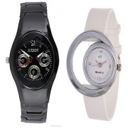 Rosra Black Men and One Side Moon White Women Watches Couple For Men and Women
