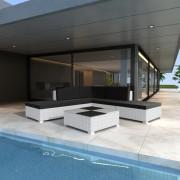 vidaXL Градински комплект мебели, бял полиратан, 15 части